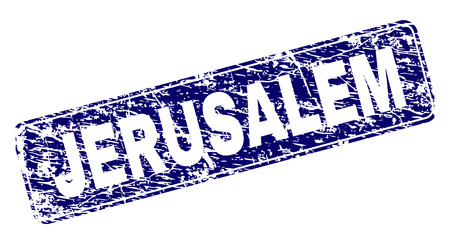 JERUSALEM stamp seal print with grunge style. Seal shape is a rounded rectangle with frame. Blue vector rubber print of JERUSALEM title with grunge style.