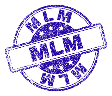 MLM stamp seal imprint with grunge texture. Designed with rounded rectangles and circles. Blue vector rubber print of MLM label with retro texture. Illustration