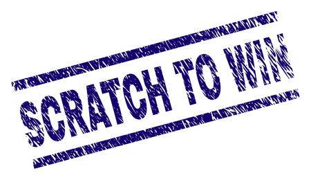 Grattez pour gagner sceau imprimé avec un style de détresse. Impression en caoutchouc de vecteur bleu de l'étiquette SCRATCH TO WIN avec une texture corrodée. La balise de texte est placée entre des lignes parallèles.
