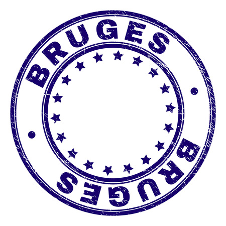 BRUGES stamp seal watermark with distress texture. Designed with round shapes and stars. Blue vector rubber print of BRUGES caption with dust texture. Illustration