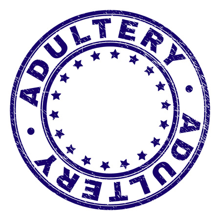 ADULTERY stamp seal watermark with grunge texture. Designed with circles and stars. Blue vector rubber print of ADULTERY tag with grunge texture.