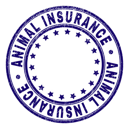 ANIMAL INSURANCE stamp seal watermark with grunge effect. Designed with circles and stars. Blue vector rubber print of ANIMAL INSURANCE caption with grunge texture. Иллюстрация