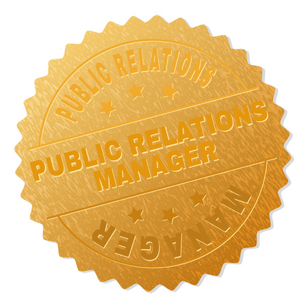 PUBLIC RELATIONS MANAGER gold stamp award. Vector golden medal with PUBLIC RELATIONS MANAGER text. Text labels are placed between parallel lines and on circle. Golden skin has metallic structure.  イラスト・ベクター素材