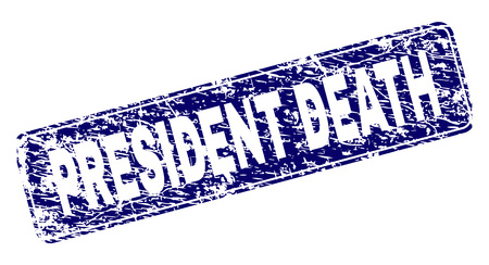PRESIDENT DEATH stamp seal print with distress style. Seal shape is a rounded rectangle with frame. Blue vector rubber print of PRESIDENT DEATH text with unclean style. 向量圖像