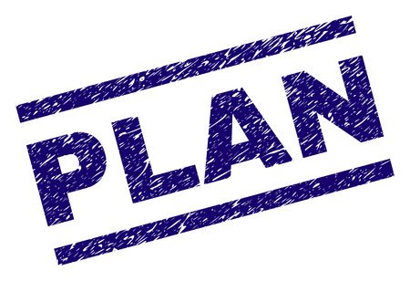 PLAN seal print with grunge style. Blue vector rubber print of PLAN title with dirty texture. Text title is placed between parallel lines.
