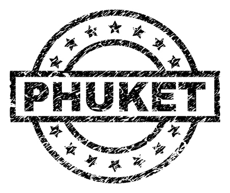 PHUKET stamp seal watermark with distress style. Designed with rectangle, circles and stars. Black vector rubber print of PHUKET label with scratched texture.