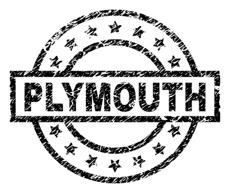 PLYMOUTH stamp seal watermark with distress style. Designed with rectangle, circles and stars. Black vector rubber print of PLYMOUTH caption with dust texture.