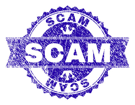 SCAM rosette stamp watermark with grunge effect. Designed with round rosette, ribbon and small crowns. Blue vector rubber watermark of SCAM title with grunge style.