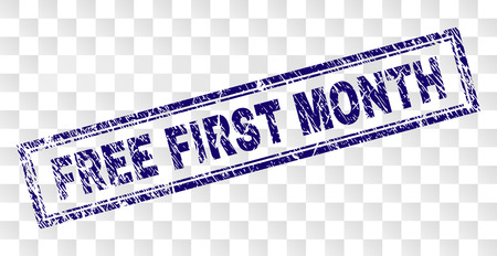 FREE FIRST MONTH stamp seal imprint with rubber print style and double framed rectangle shape. Stamp is placed on a transparent background.