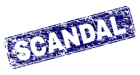 SCANDAL stamp seal print with grunge style. Seal shape is a rounded rectangle with frame. Blue vector rubber print of SCANDAL text with grunge style.