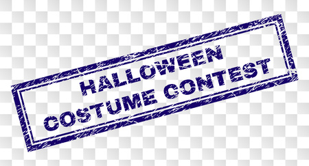 HALLOWEEN COSTUME CONTEST stamp seal print with rubber print style and double framed rectangle shape. Stamp is placed on a transparent background. Vector Illustration