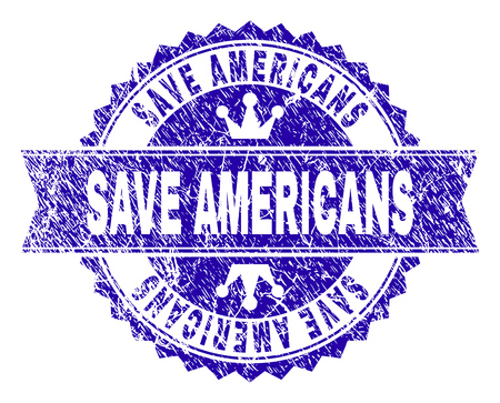 SAVE AMERICANS rosette seal imprint with grunge style. Designed with round rosette, ribbon and small crowns. Blue vector rubber watermark of SAVE AMERICANS caption with corroded style.