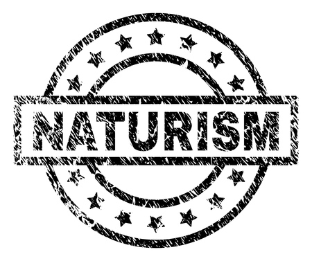 NATURISM stamp seal watermark with distress style. Designed with rectangle, circles and stars. Black vector rubber print of NATURISM text with retro texture.