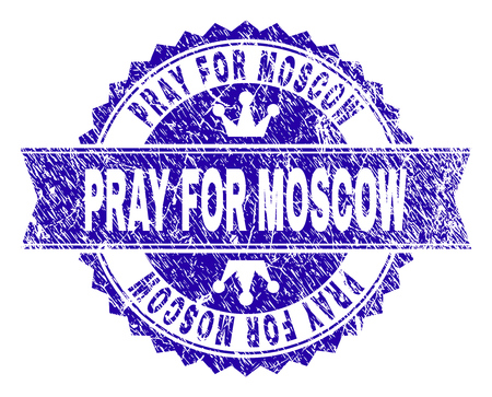 PRAY FOR MOSCOW rosette seal watermark with grunge texture. Designed with round rosette, ribbon and small crowns. Blue vector rubber watermark of PRAY FOR MOSCOW label with grunge style.