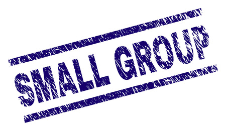 SMALL GROUP seal imprint with grunge style. Blue vector rubber print of SMALL GROUP caption with scratched texture. Text caption is placed between parallel lines.