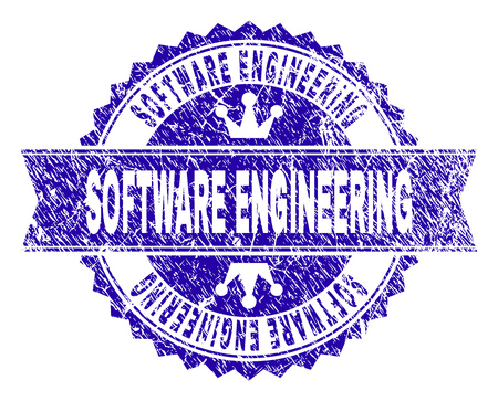 SOFTWARE ENGINEERING rosette stamp seal watermark with grunge style. Designed with round rosette, ribbon and small crowns.