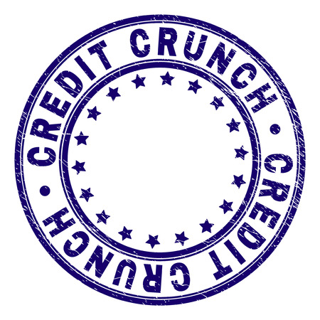 CREDIT CRUNCH stamp seal imprint with distress texture. Designed with circles and stars. Blue vector rubber print of CREDIT CRUNCH label with unclean texture.