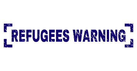 REFUGEES WARNING text seal imprint with grunge texture. Text title is placed between corners. Blue vector rubber print of REFUGEES WARNING with scratched texture.