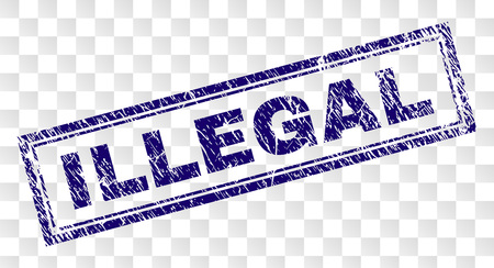 ILLEGAL stamp seal watermark with rubber print style and double framed rectangle shape. Stamp is placed on a transparent background. Blue vector rubber print of ILLEGAL title with dust texture.