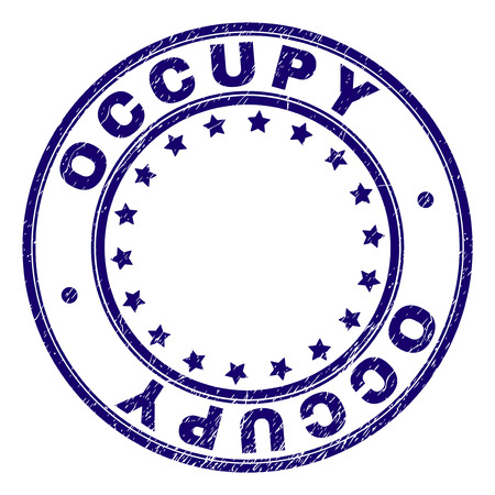 OCCUPY stamp seal imprint with grunge texture. Designed with circles and stars. Blue vector rubber print of OCCUPY label with grunge texture.