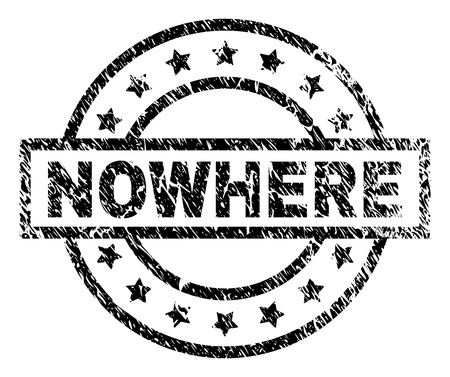 NOWHERE stamp seal watermark with distress style. Designed with rectangle, circles and stars. Black vector rubber print of NOWHERE caption with scratched texture. Illustration