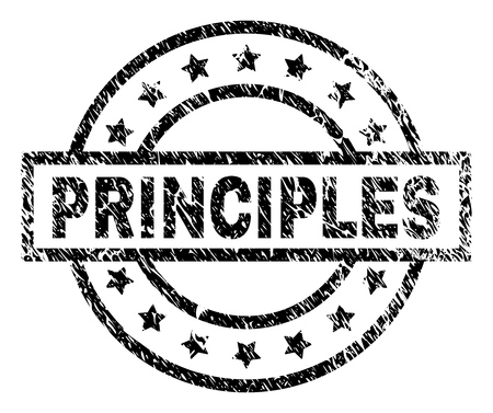 PRINCIPLES stamp seal watermark with distress style. Designed with rectangle, circles and stars. Black vector rubber print of PRINCIPLES text with unclean texture.