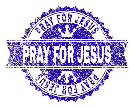 PRAY FOR JESUS rosette seal imitation with grunge effect. Designed with round rosette, ribbon and small crowns. Blue vector rubber watermark of PRAY FOR JESUS tag with grunge texture.