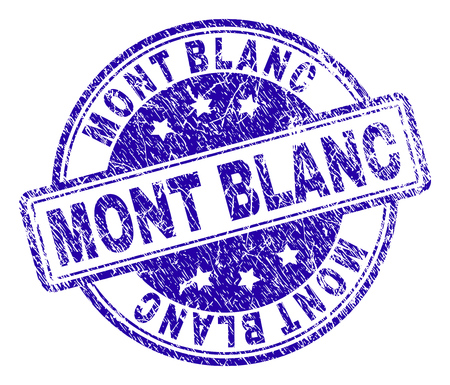 MONT BLANC stamp seal watermark with grunge texture. Designed with rounded rectangles and circles. Blue vector rubber print of MONT BLANC title with grunge texture. Ilustração