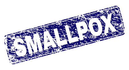 SMALLPOX stamp seal print with distress style. Seal shape is a rounded rectangle with frame. Blue vector rubber print of SMALLPOX caption with dust style. Ilustracja
