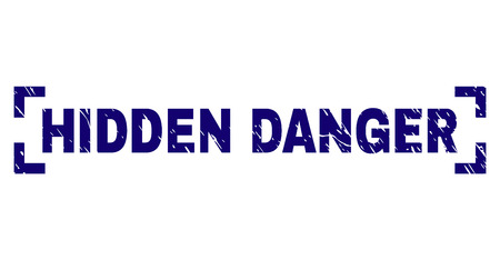HIDDEN DANGER text seal print with corroded texture. Text tag is placed between corners. Blue vector rubber print of HIDDEN DANGER with scratched texture.
