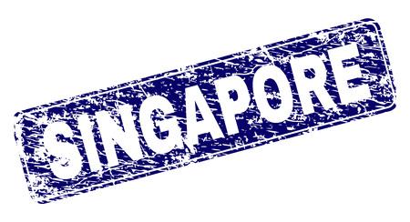 Impresión de sello de sello de Singapur con textura grunge. La forma del sello es un rectángulo redondeado con marco. Impresión de goma de vector azul del título de Singapur con textura rayada.