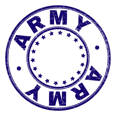 ARMY stamp seal imprint with grunge texture. Designed with round shapes and stars. Blue vector rubber print of ARMY title with grunge texture.