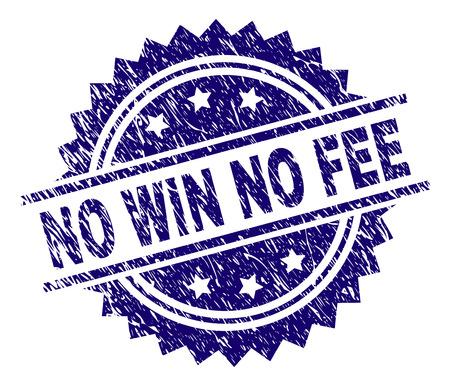 NO WIN NO FEE Stempelsiegel-Wasserzeichen im Distress-Stil. Blauer Vektorgummidruck von NO WIN NO FEE-Tag mit korrodierter Textur.