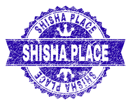 SHISHA PLACE rosette stamp seal watermark with distress style. Designed with round rosette, ribbon and small crowns. Blue vector rubber watermark of SHISHA PLACE label with dirty style. Banque d'images - 125537490