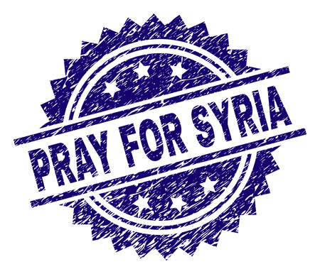 PRAY FOR SYRIA stamp seal watermark with distress style. Blue vector rubber print of PRAY FOR SYRIA caption with dirty texture.