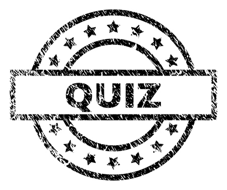 QUIZ stamp seal watermark with distress style. Designed with rectangle, circles and stars. Black vector rubber print of QUIZ tag with dust texture.
