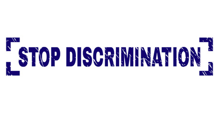 STOP DISCRIMINATION text seal stamp with distress texture. Text title is placed inside corners. Blue vector rubber print of STOP DISCRIMINATION with scratched texture.