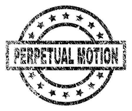 PERPETUAL MOTION stamp seal watermark with distress style. Designed with rectangle, circles and stars. Black vector rubber print of PERPETUAL MOTION text with scratched texture.