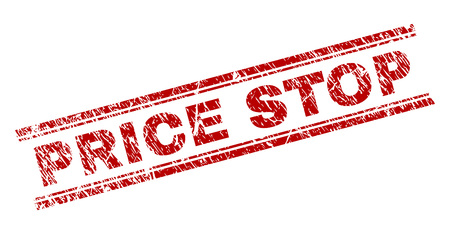 PRICE STOP seal print with distress texture. Red vector rubber print of PRICE STOP caption with dust texture. Text tag is placed between double parallel lines.