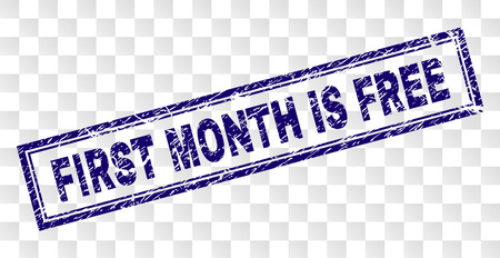 FIRST MONTH IS FREE stamp seal print with rubber print style and double framed rectangle shape. Stamp is placed on a transparent background.