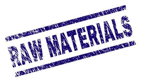 RAW MATERIALS seal print with scratced style. Blue vector rubber print of RAW MATERIALS text with corroded texture. Text title is placed between parallel lines.