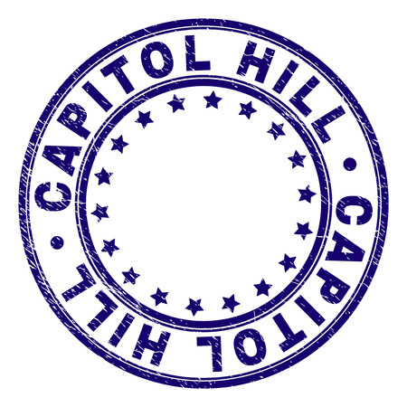 CAPITOL HILL stamp seal imprint with grunge texture. Designed with round shapes and stars. Blue vector rubber print of CAPITOL HILL text with unclean texture.