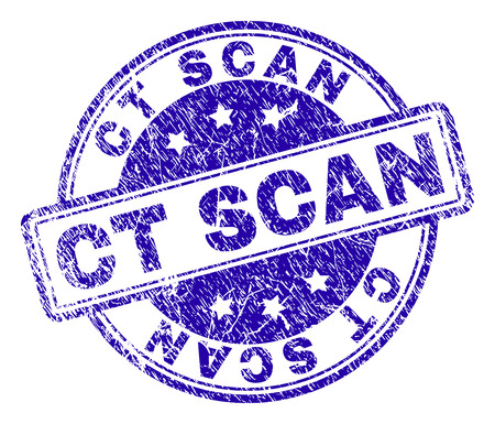 CT SCAN stamp seal watermark with grunge style. Designed with rounded rectangles and circles. Blue vector rubber print of CT SCAN caption with grunge texture.