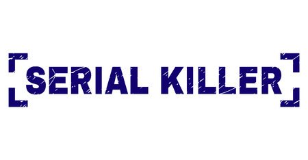 SERIAL KILLER title seal print with grunge texture. Text title is placed between corners. Blue vector rubber print of SERIAL KILLER with retro texture. Illustration