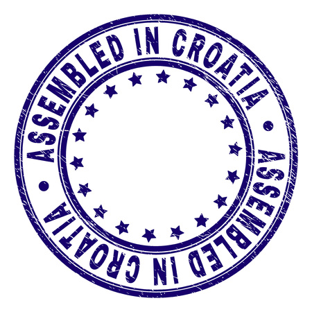 ASSEMBLED IN CROATIA stamp seal watermark with grunge texture. Designed with round shapes and stars. Blue vector rubber print of ASSEMBLED IN CROATIA caption with dirty texture.