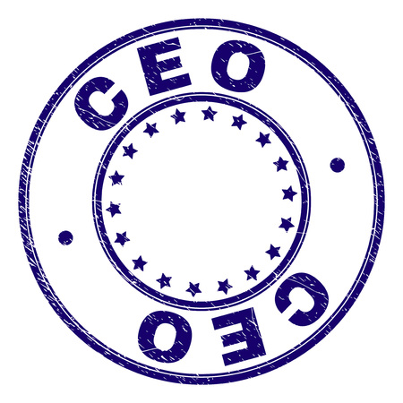 CEO stamp seal watermark with distress texture. Designed with circles and stars. Blue vector rubber print of CEO title with retro texture.  イラスト・ベクター素材