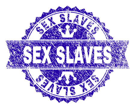 SEX SLAVES rosette stamp imprint with grunge texture. Designed with round rosette, ribbon and small crowns. Blue vector rubber watermark of SEX SLAVES tag with grunge texture. Illustration