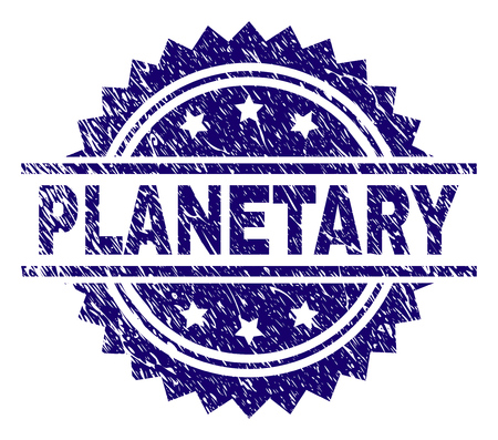 PLANETARY stamp seal watermark with distress style. Blue vector rubber print of PLANETARY caption with grunge texture.
