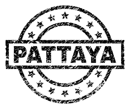 PATTAYA stamp seal watermark with distress style. Designed with rectangle, circles and stars. Black vector rubber print of PATTAYA label with grunge texture.