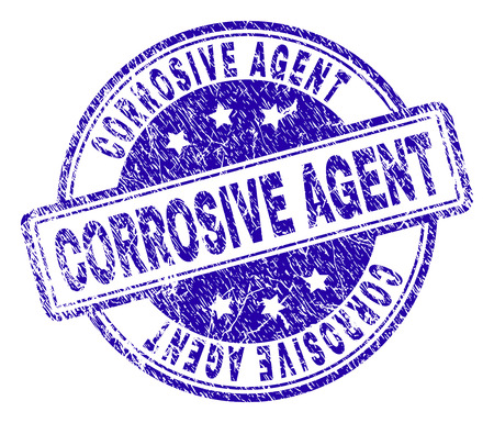 CORROSIVE AGENT stamp seal watermark with grunge effect. Designed with rounded rectangles and circles. Blue vector rubber print of CORROSIVE AGENT title with grunge texture. Vectores